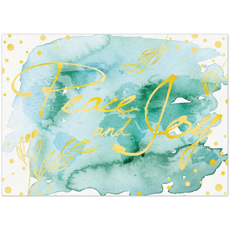 Watercolor Peace and Joy Holiday Greeting Card
