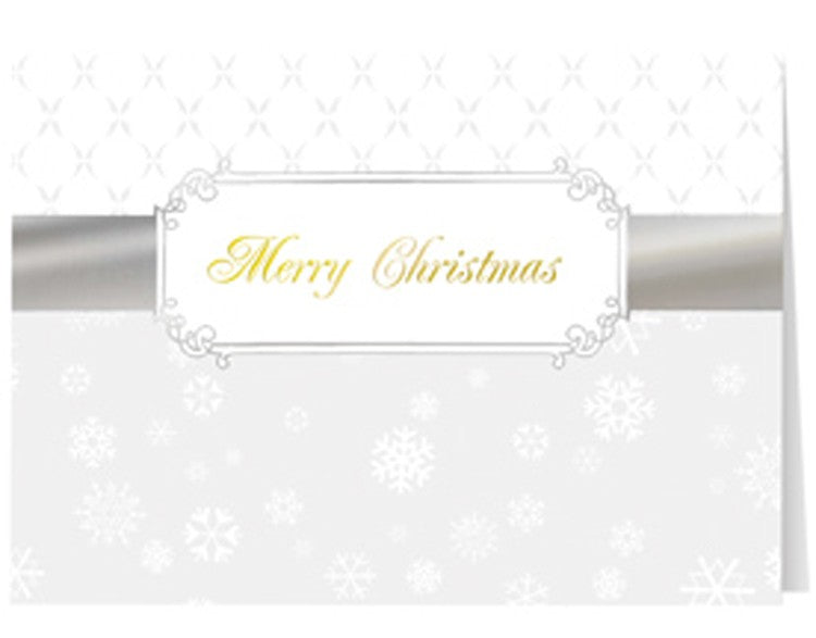 Silver Christmas Ribbon Greeting Card