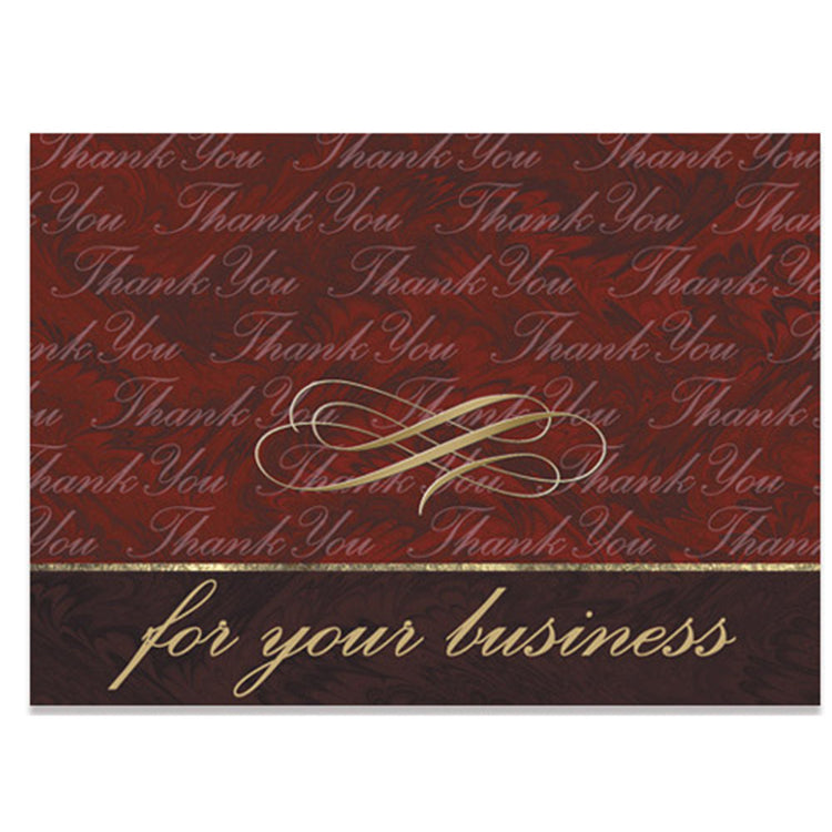 Burgundy Marble Thank You Card