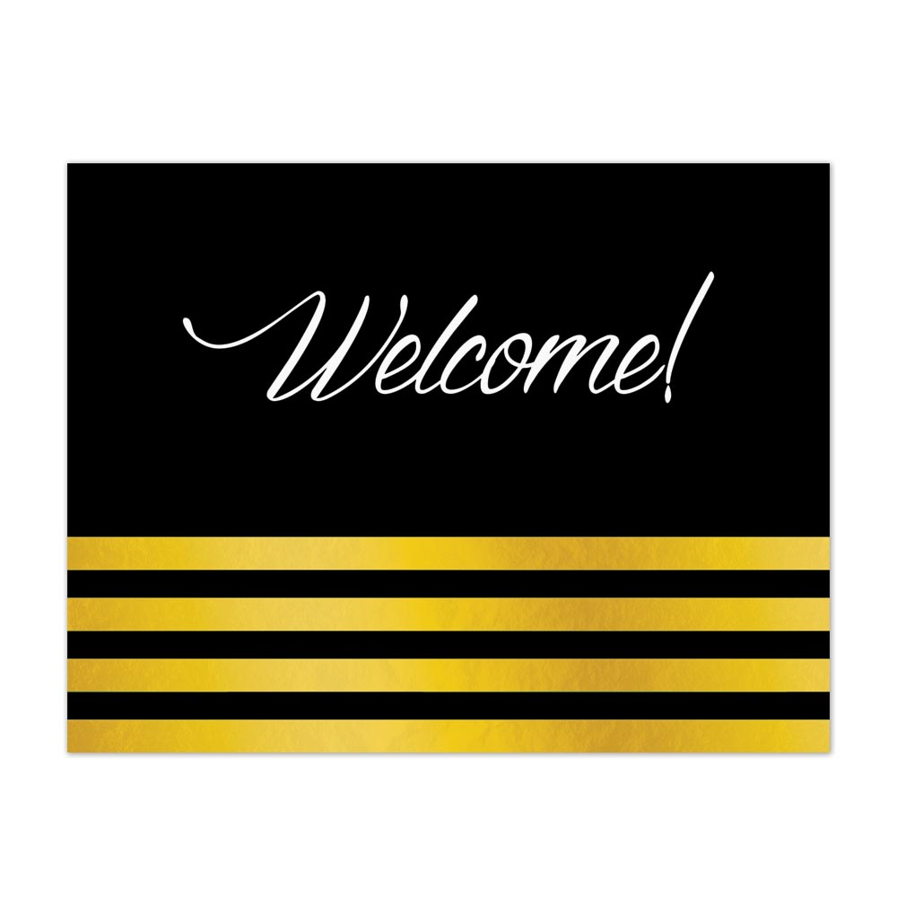 Gold Stripes Welcome (Black) Greeting Card