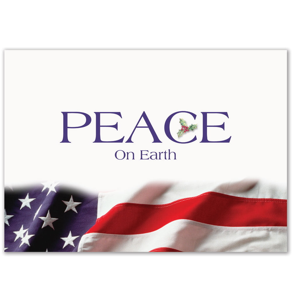 Patriotic Peace on Earth Holiday Greeting Card