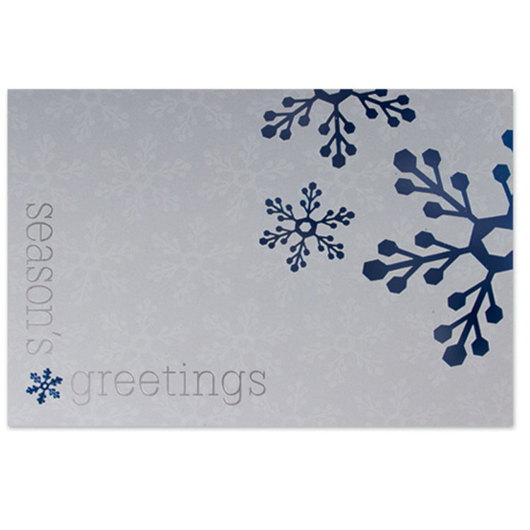 Blue Snowflakes on Silver Holiday Greeting Card