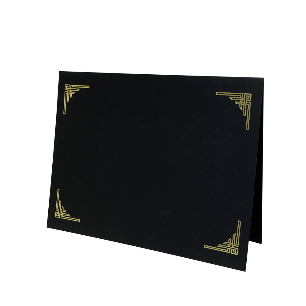 Black Art Deco Certificate Holder with gold corner design