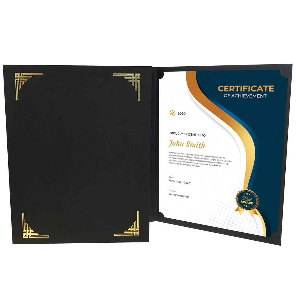 Black Art Deco Certificate Holder