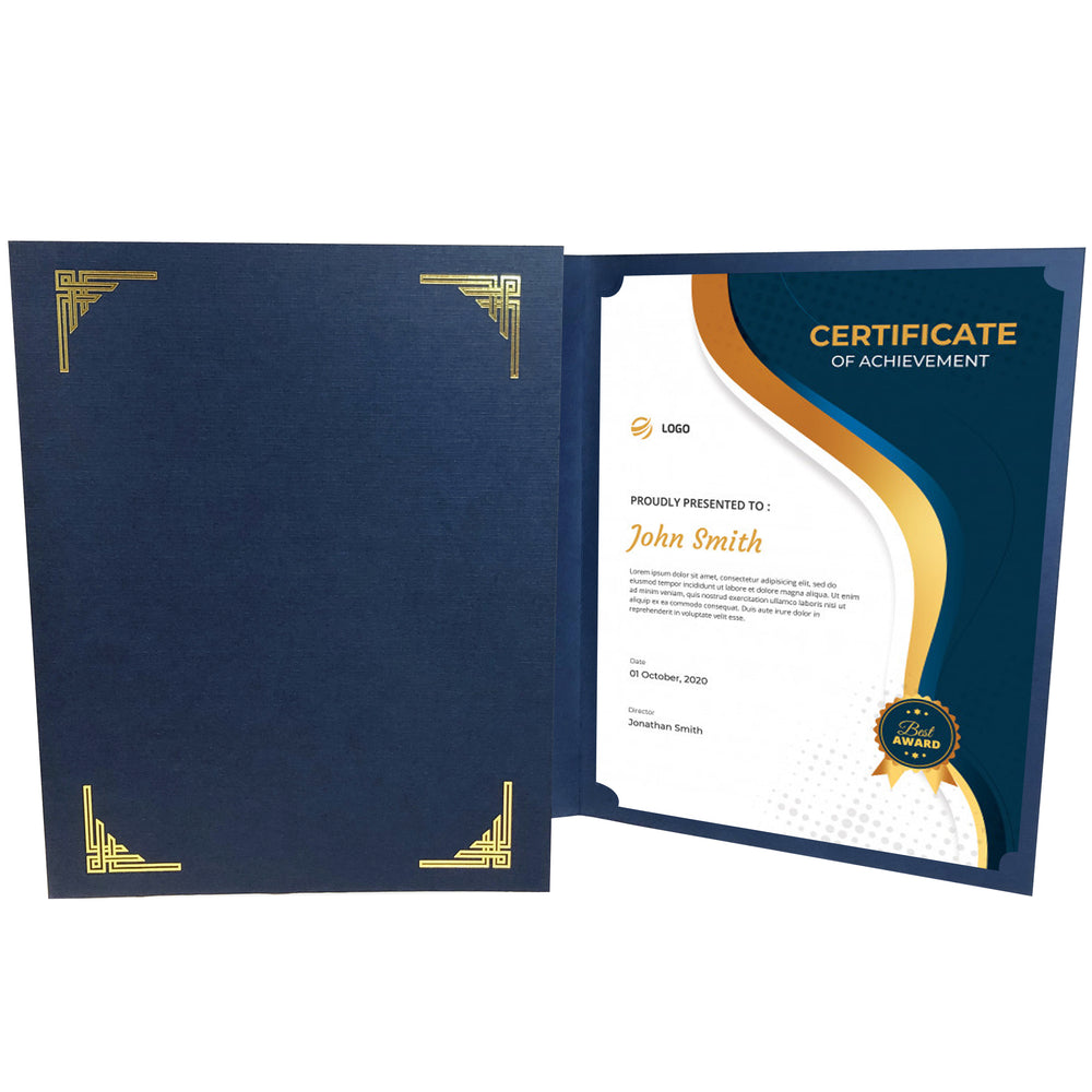 Blue Art Deco Certificate Holder with gold corner design