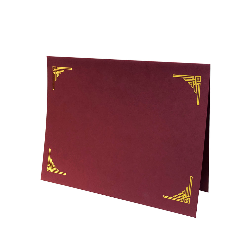 Burgundy Art Deco Certificate Holder with gold corner design