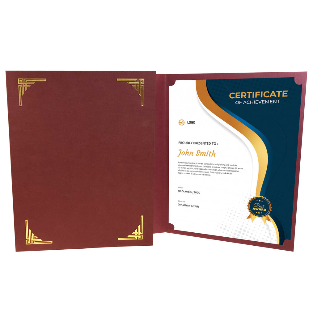 Burgundy Art Deco Certificate Holder