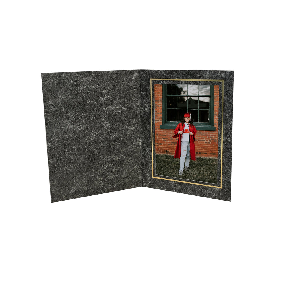 Pillar Folders frames with gold trim in vertical orientation