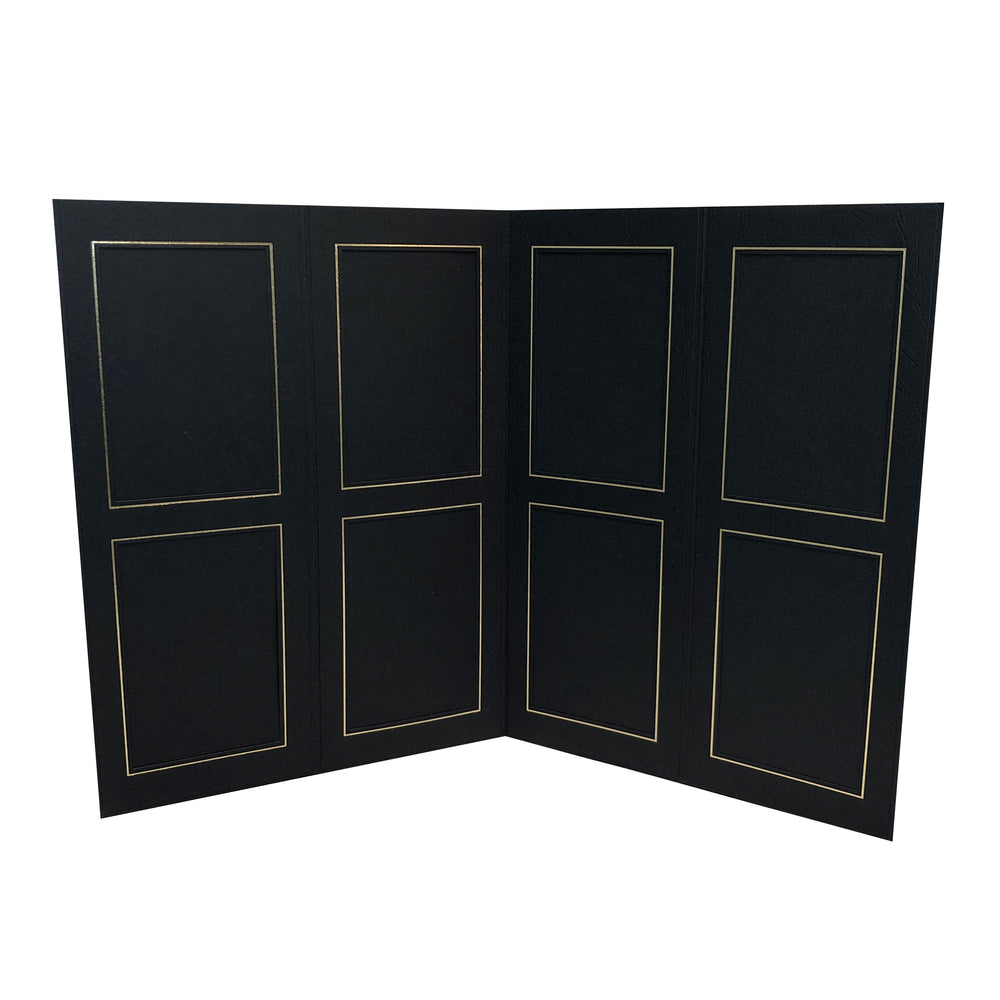 Black Birch 8-Opening Proofer Folio frames with gold trim