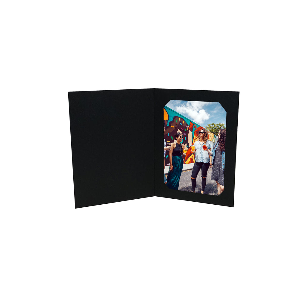 5x7/4x6 or 8x10/6x8 Black Corner Slit Folder frames