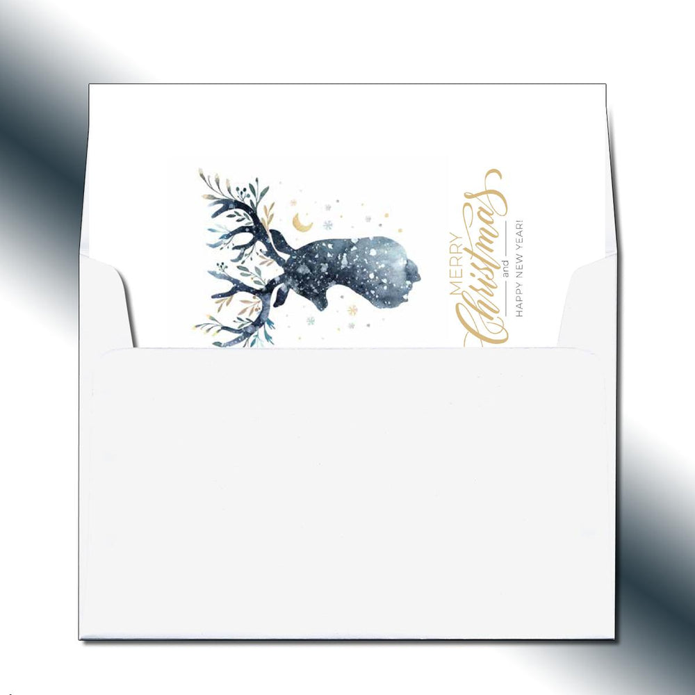 Night Sky Reindeer Greeting Card