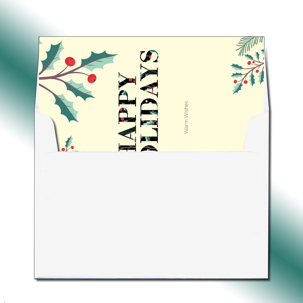 Folded Happy Holly Holidays Greeting Card