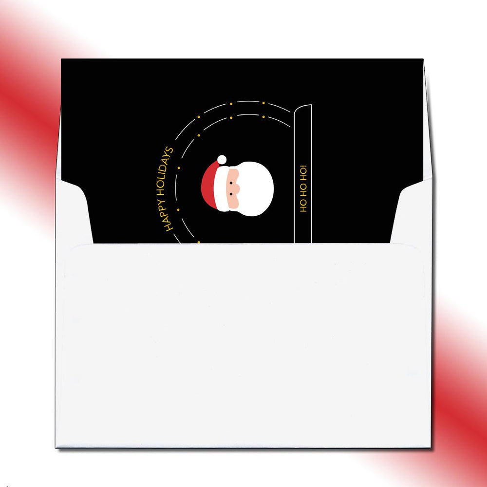 Folded Santa's Snow Globe Greeting Card