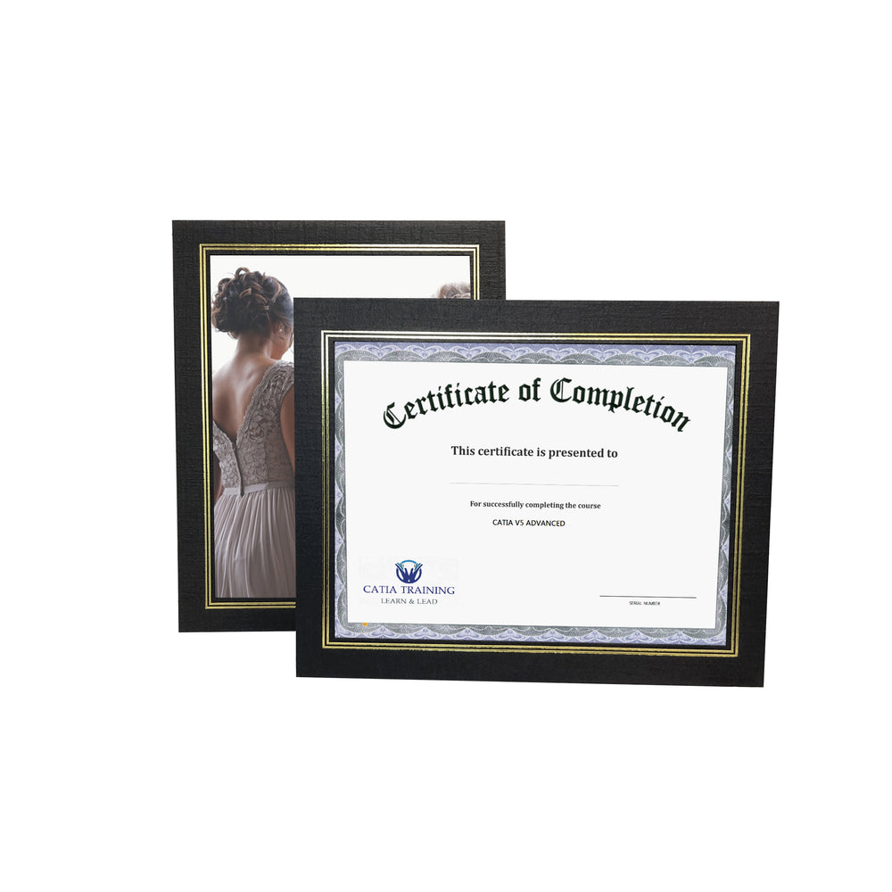 8.5x11 black Enviro Certificate Easels with gold trim