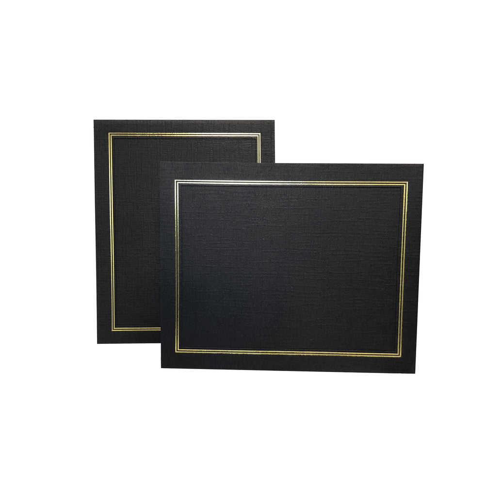 8.5x11 black Enviro Certificate Easels with gold trim in vertical and horizontal orientations