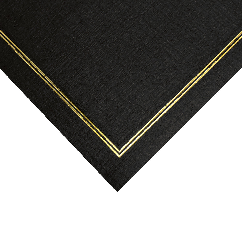 Corner of 8.5x11 black Enviro Certificate Easels with gold trim