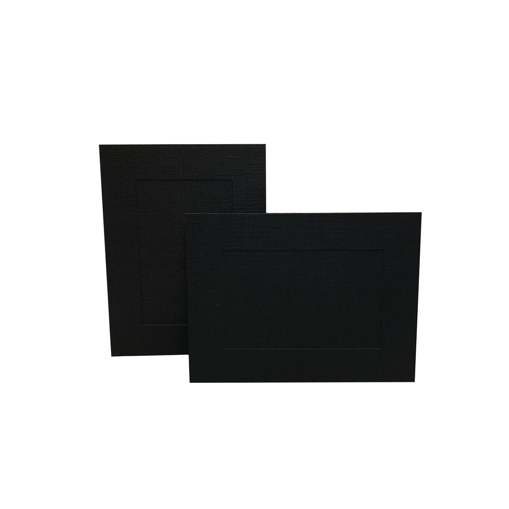 Black Enviro Easels frames in horizontal and vertical orientation