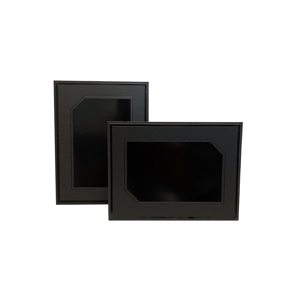 Black Leatherette Easel frames in horizontal and vertical orientation
