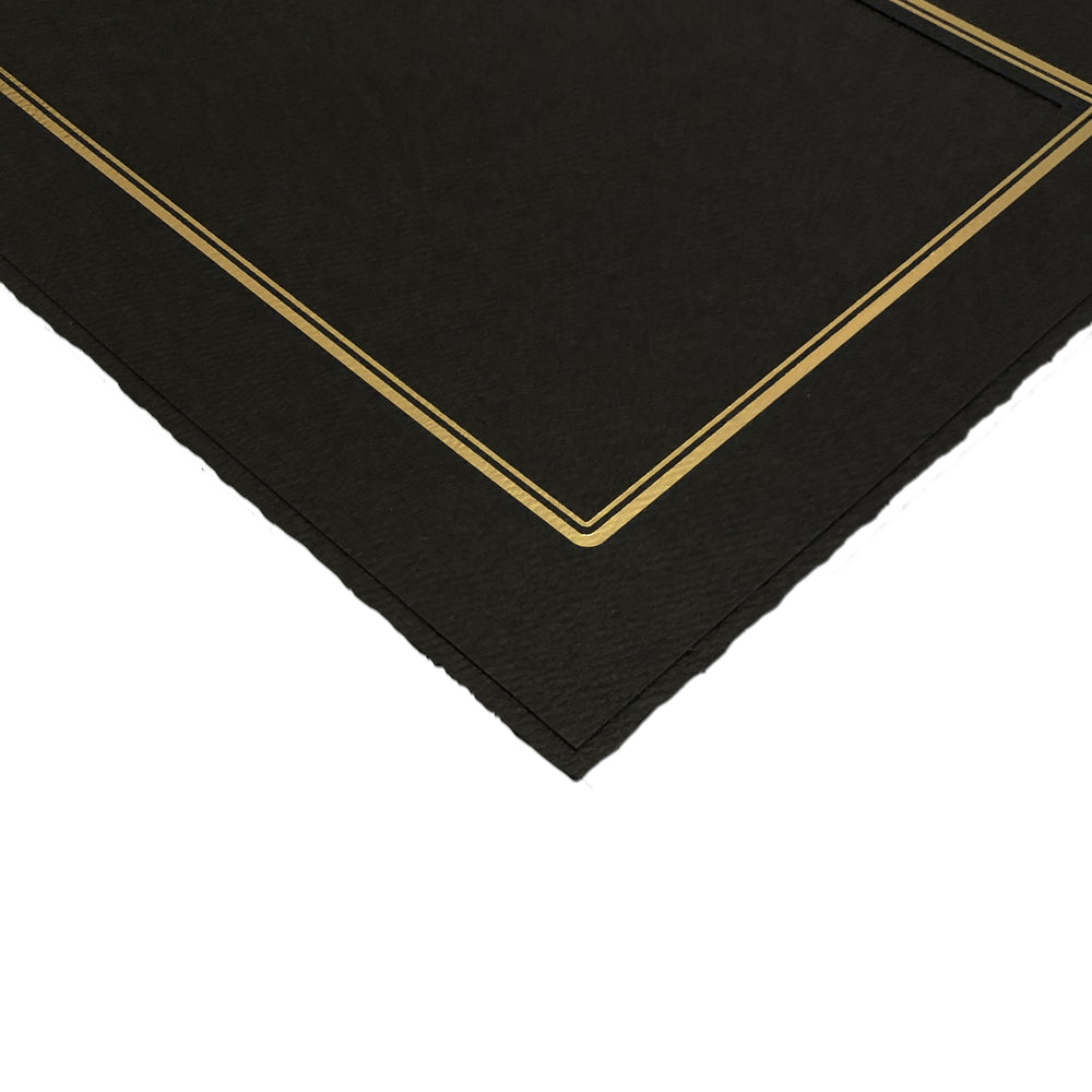 4x5 Black Linen Folder Series frames with gold trim