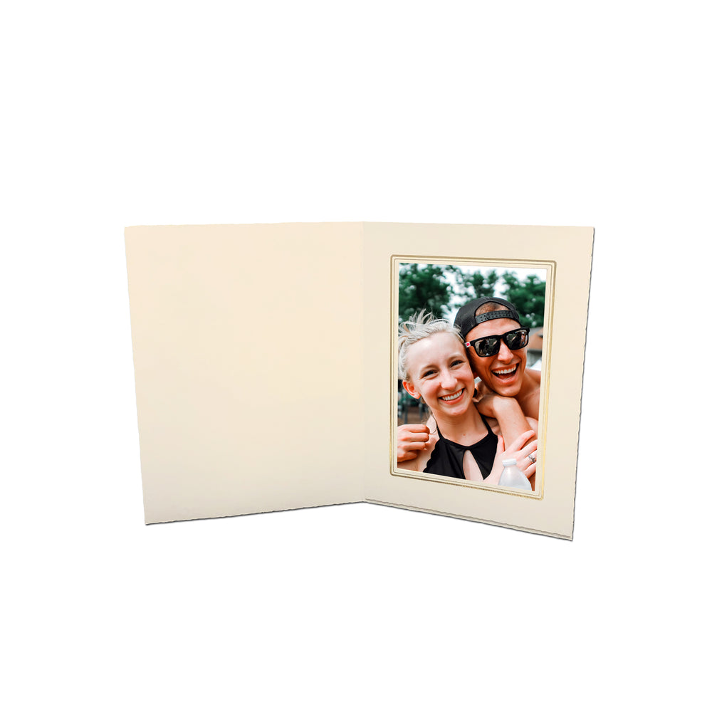 4x6, 5x7 or 8x10 White Linen Folder Series frames with gold trim