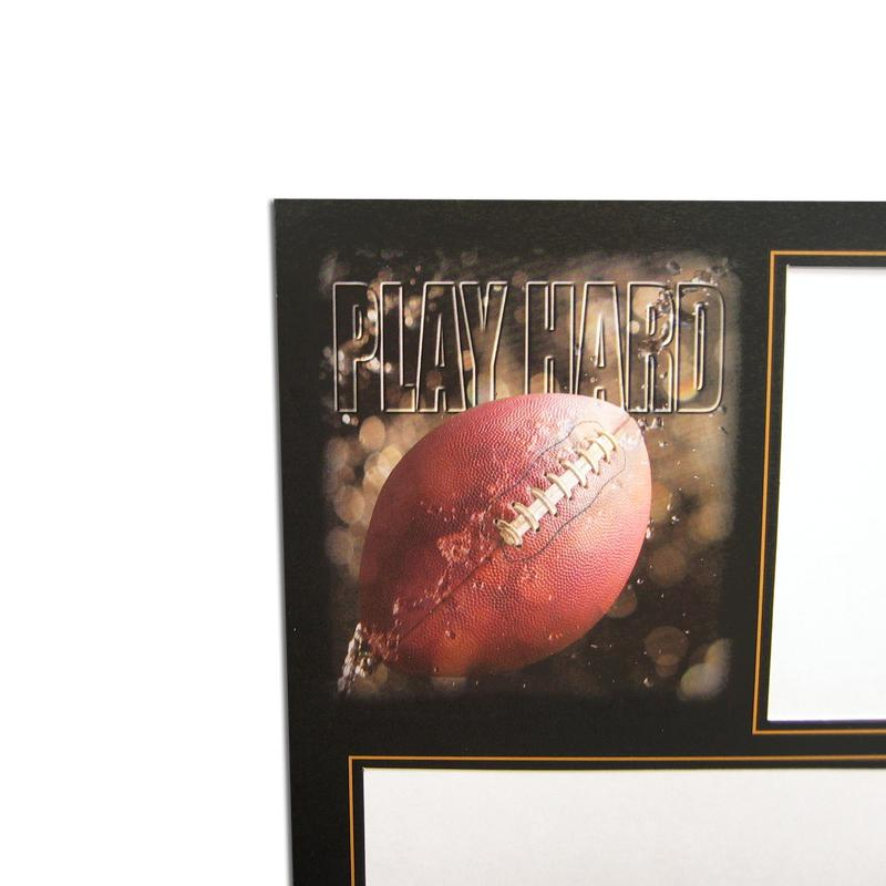 Football themed Focus Sports Series Easels memory mates with gold trim