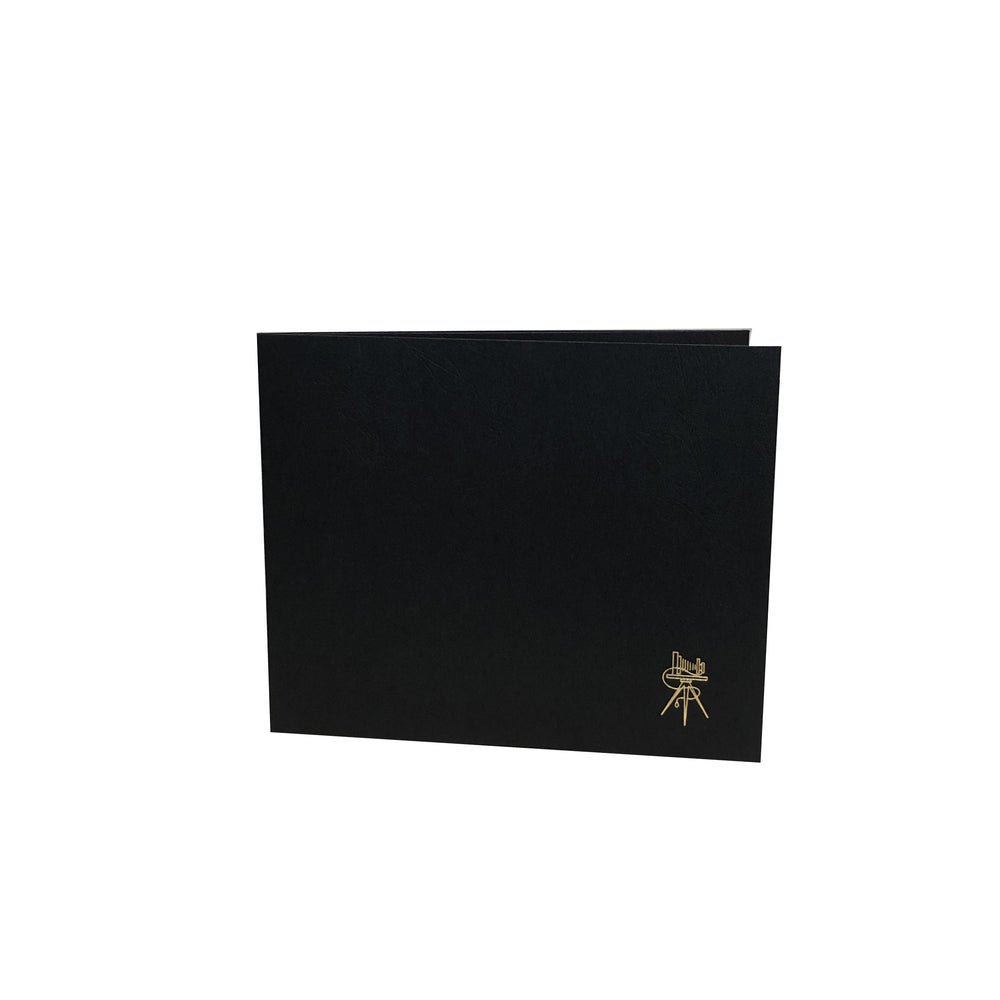 Cover of black Pine 6-Opening Proofer Folio frame with gold trim