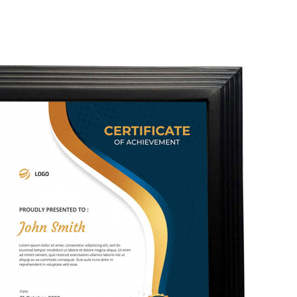 8.5x11 Black plastic Pyramid Certificate Frame