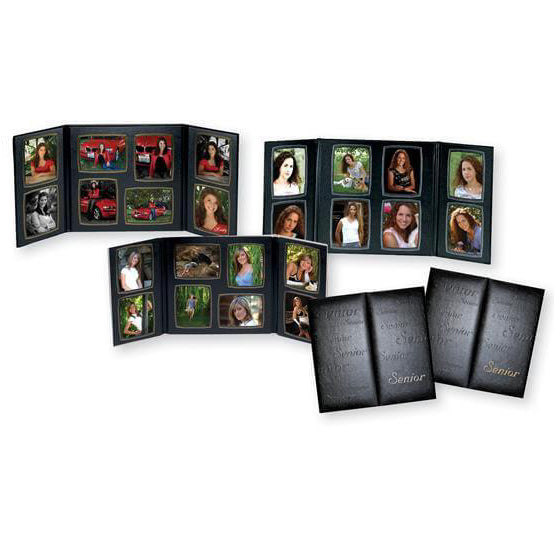 Black Senior Memories Folio frame with gold or silver trim