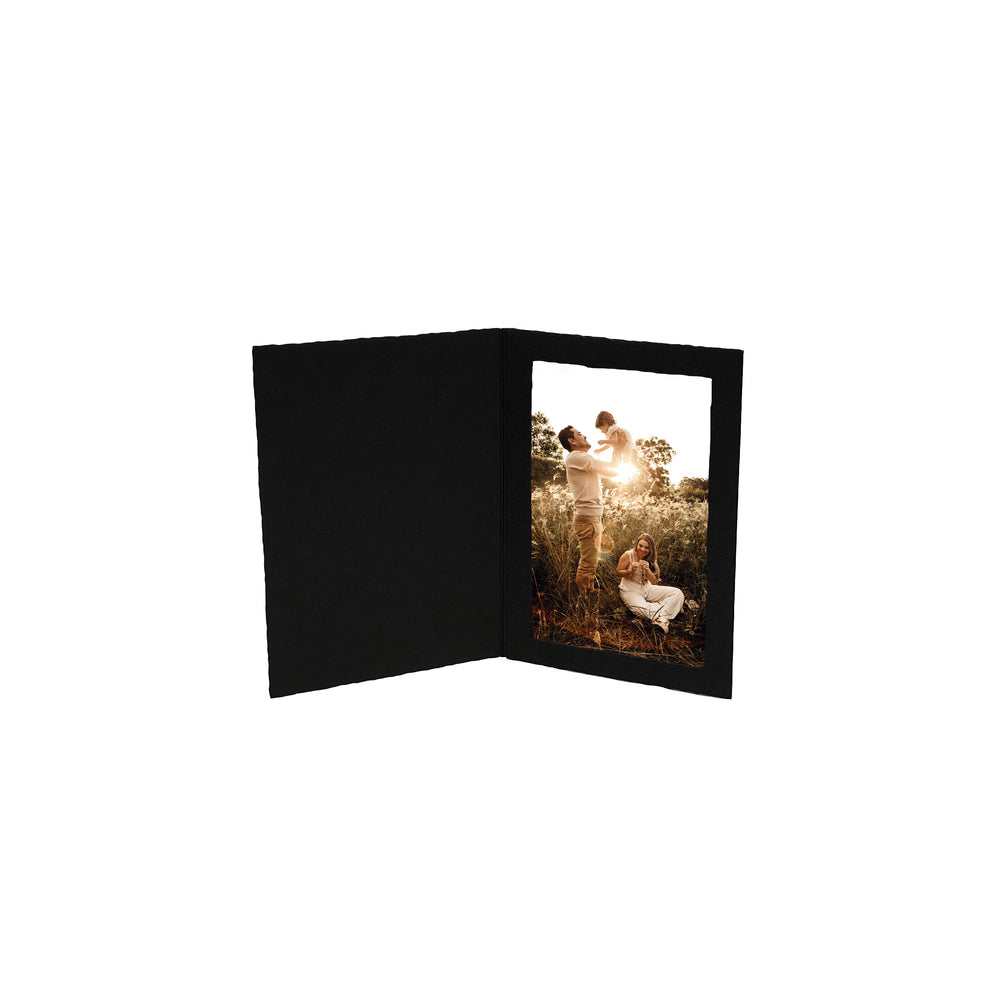 Black Side-Insert Portrait Folders frames in vertical orientation
