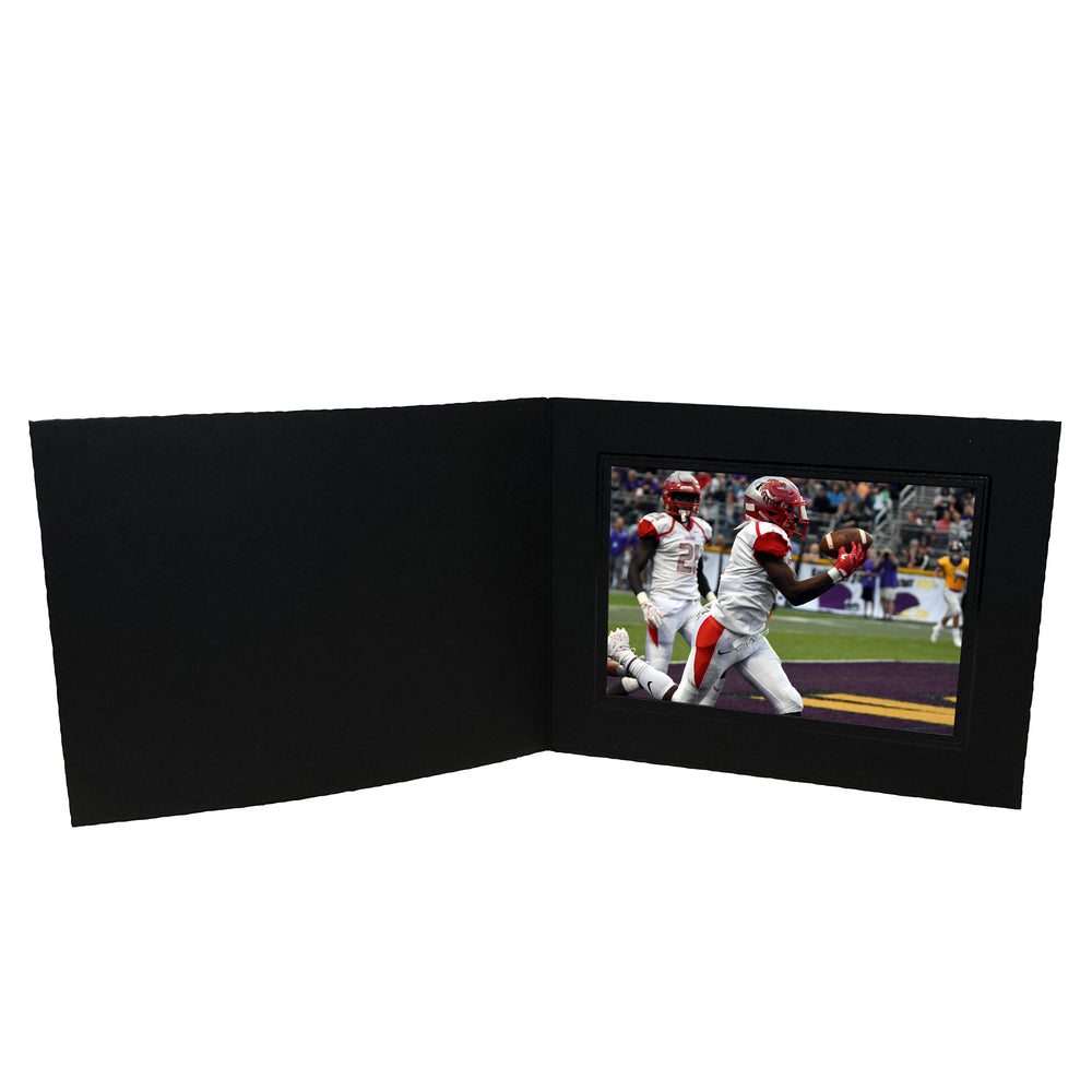 Black Smooth Deckled Edge Folder Series frames with black trim in horizontal orientation