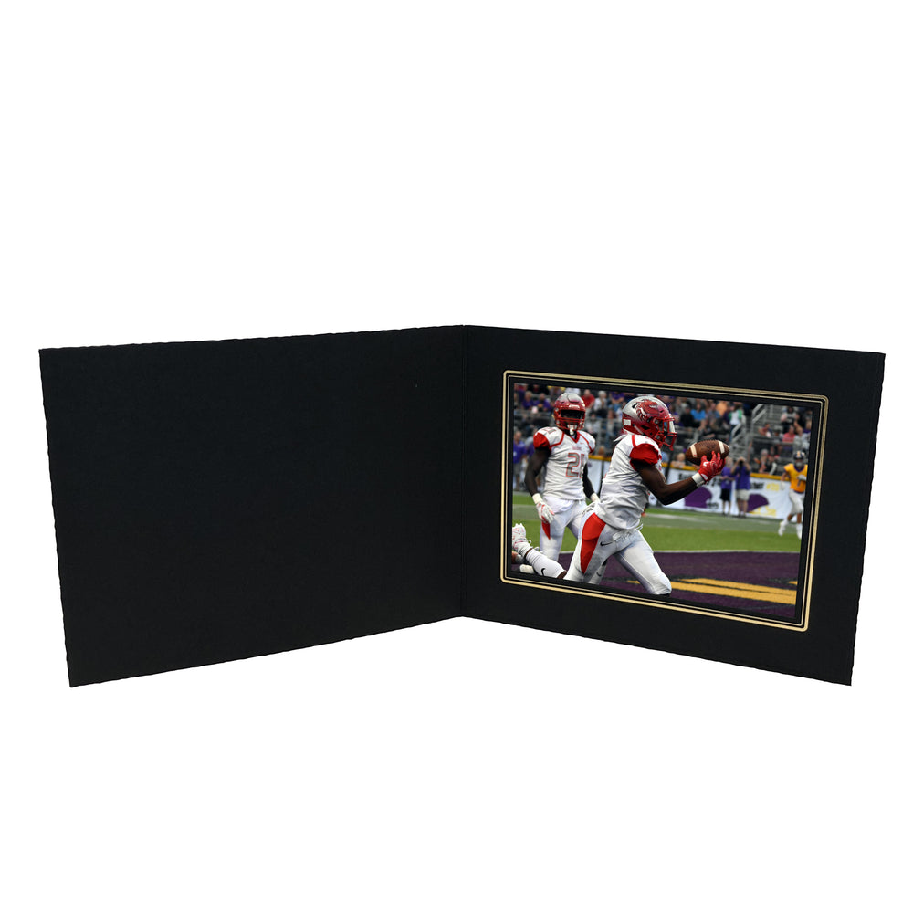 Black Smooth Deckled Edge Folder Series frames with gold trim in horizontal orientation