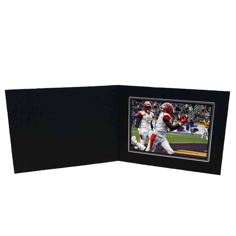 Black Smooth Deckled Edge Folder Series frames with silver trim in horizontal orientation