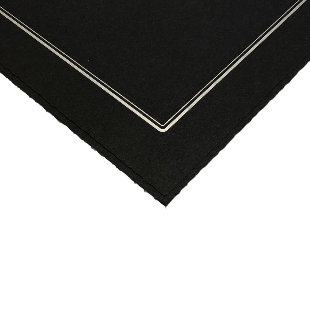 Black Smooth Deckled Edge Folder Series frames with silver trim