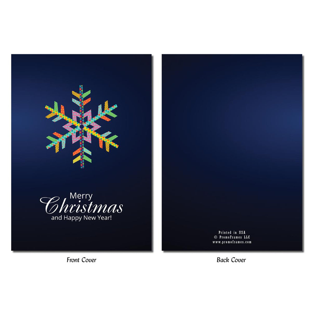 Front and back of Colorful Snowflake Photo Insert Card