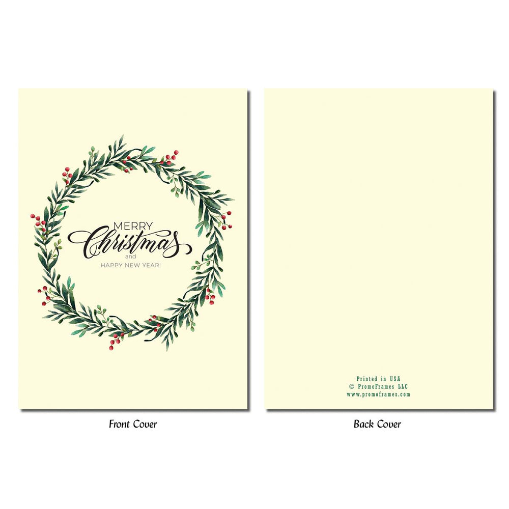 Front and back of Wreath Greeting Card