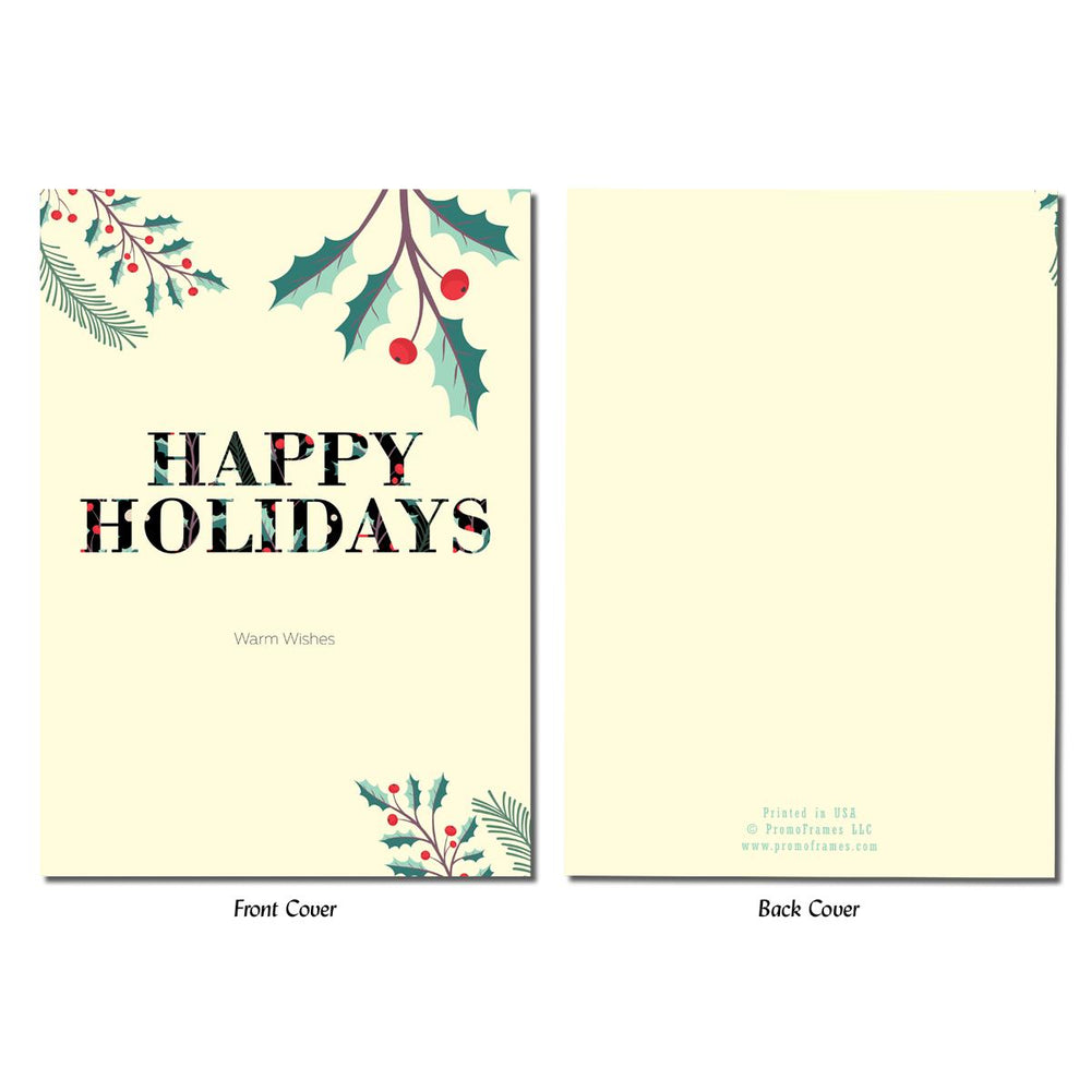 Front and back of Happy Holly Holidays Greeting Card