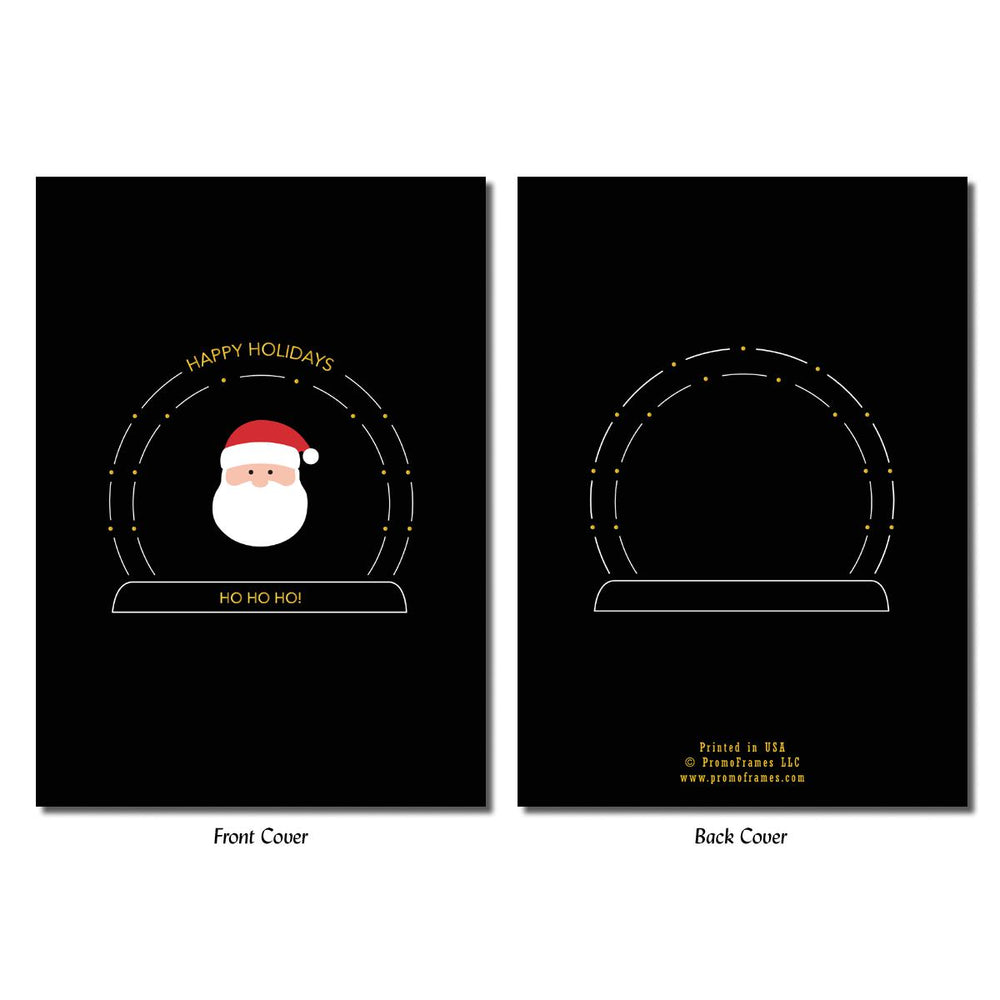 Front and back of Santa's Snow Globe Greeting Card