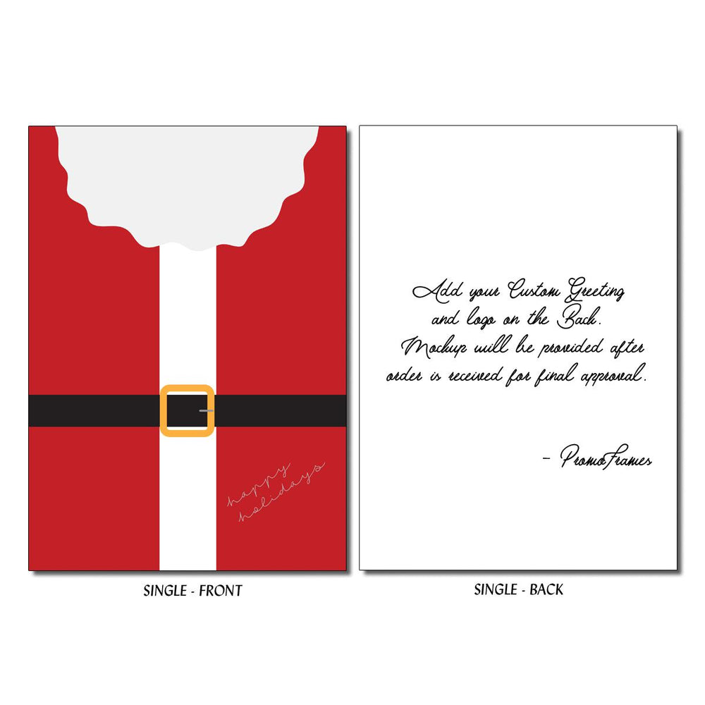 Front and back of Santa's Buckle Greeting Card