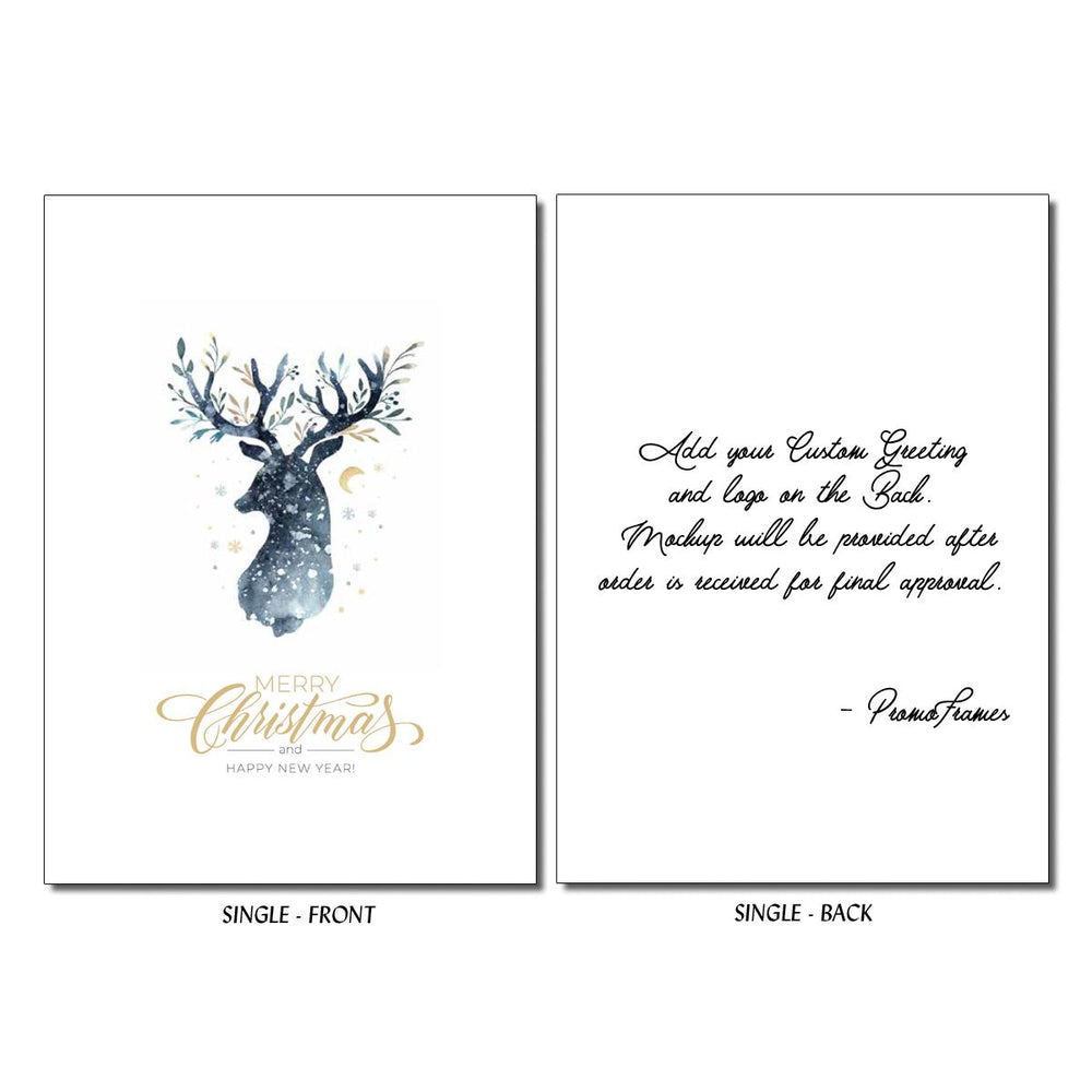 Front and back of Night Sky Reindeer Greeting Card