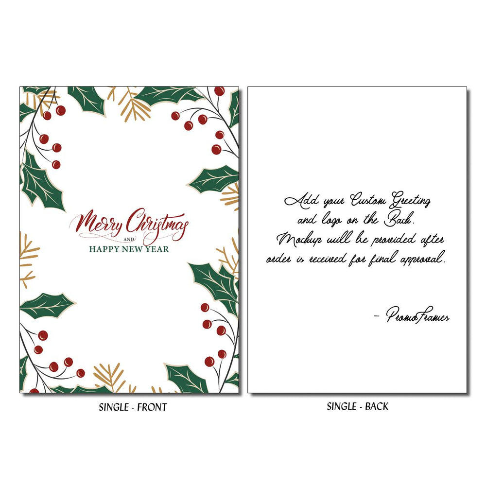 Front and back of Holly Christmas Greeting Card