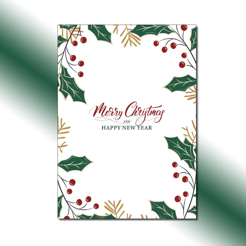 Single-side Holly Christmas Greeting Card