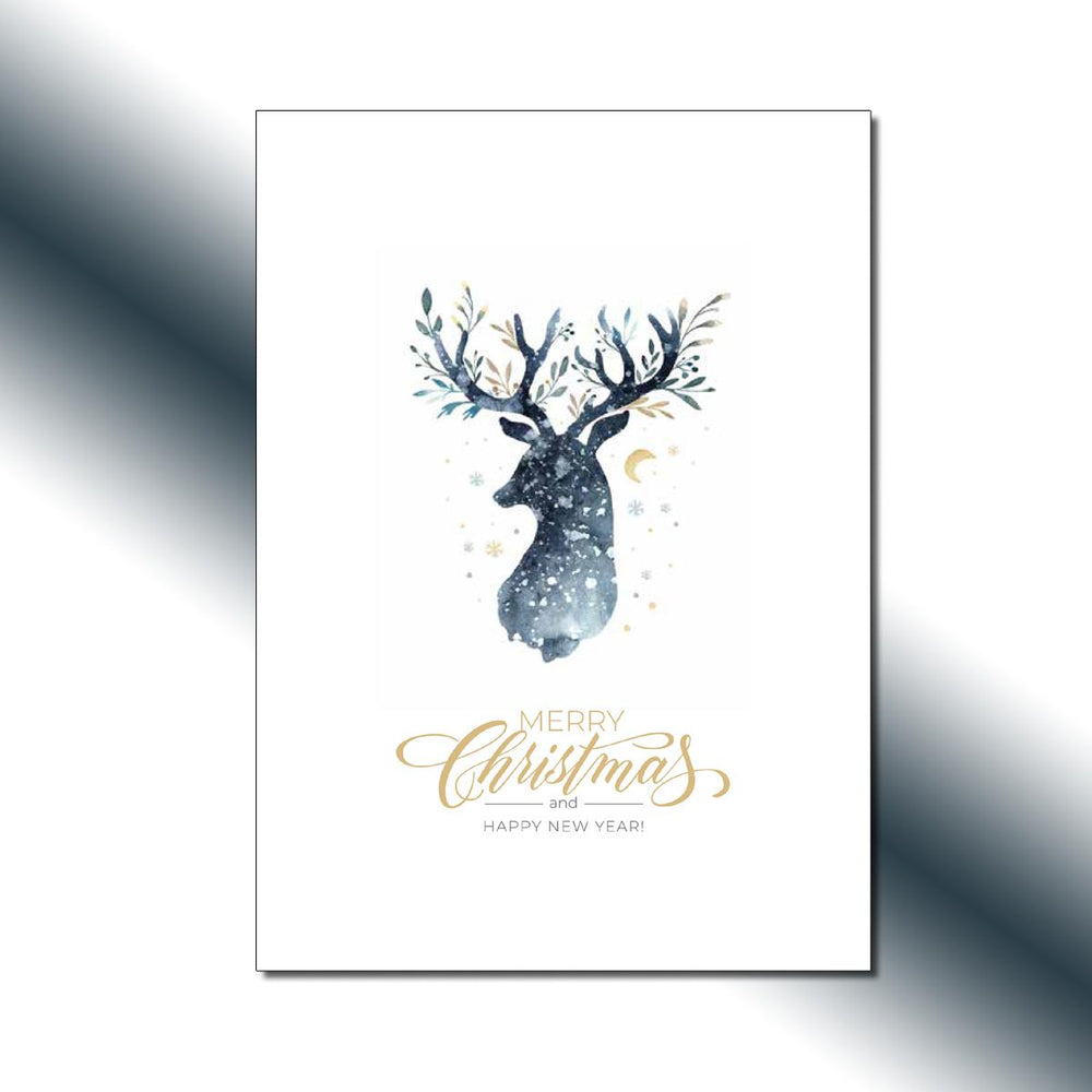 Single-side Night Sky Reindeer Greeting Card