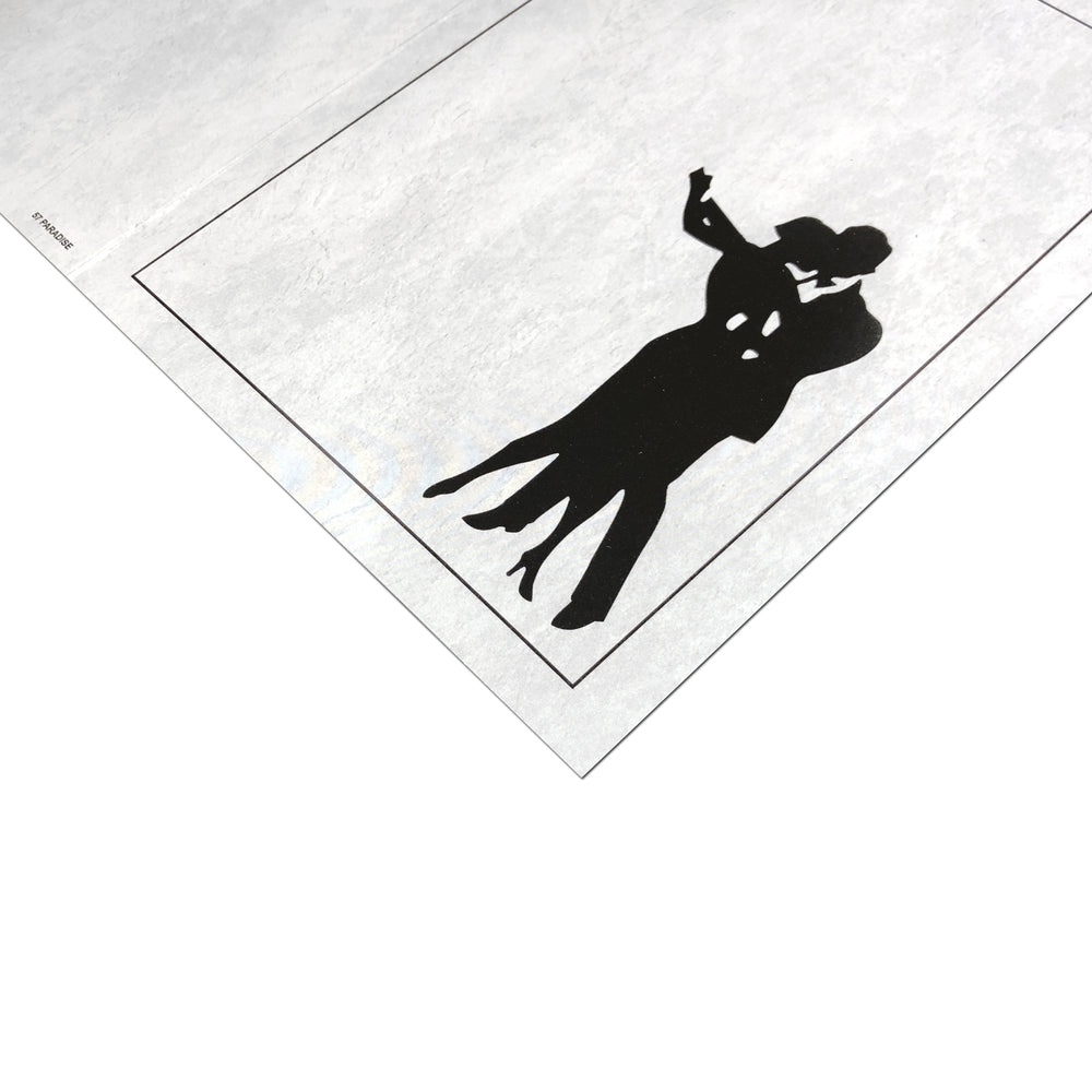 Gray Waltz Folder frames with a silhouette of a couple dancing on the front cover