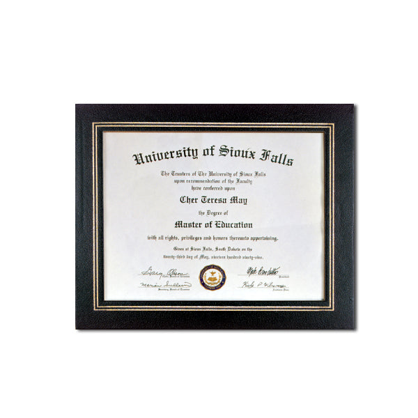 Black Deluxe Coupled Trim Certificate Holder with double gold trim