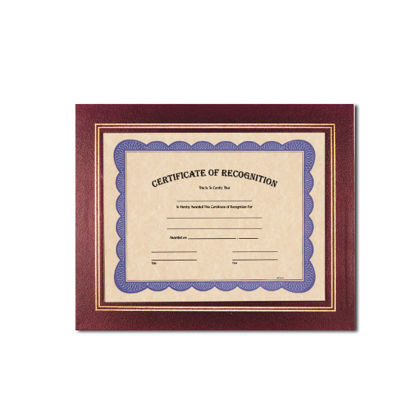 Burgundy Deluxe Coupled Trim Certificate Holder with double gold trim