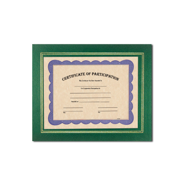 Green Deluxe Coupled Trim Certificate Holder with double gold trim