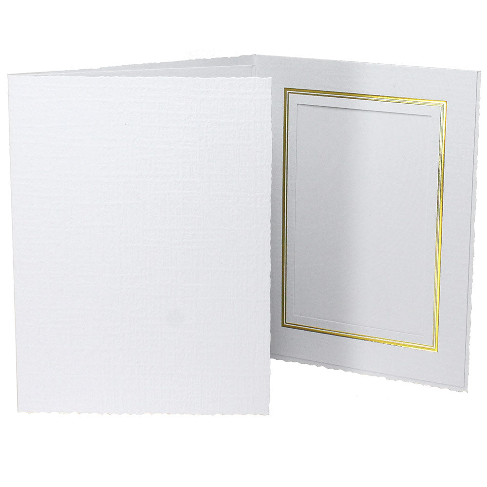 White Enviro Folders frames with gold trim
