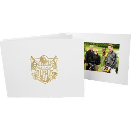 6x4 Foil Stamped Golf Folders frames with gold golf crest foil stamp