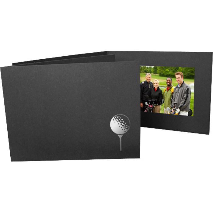6x4 Foil Stamped Golf Folders frames with silver golf tee foil stamp