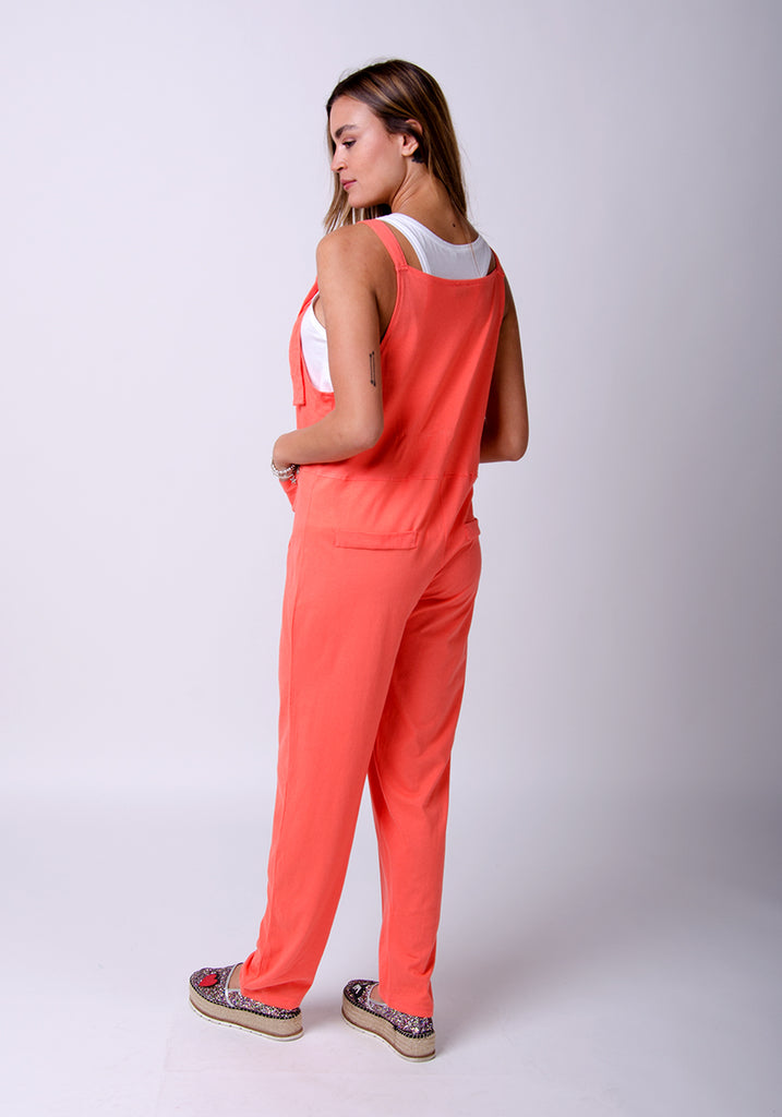 Rückansicht Mabel Damen Dungaree Jumpsuit - Coral  - washclothing-de